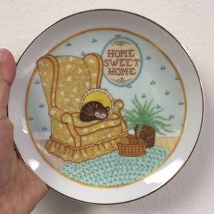 Home Sweet Home Sleeping Kitty Porcelain Plate